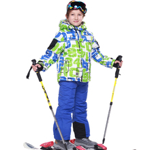 2015FREE SHIPPING skiing jacket+pant snow suit fur lining -20-30 DEGREE ski suit phibee kids winter clothing set for boys1419701(China (Mainland))