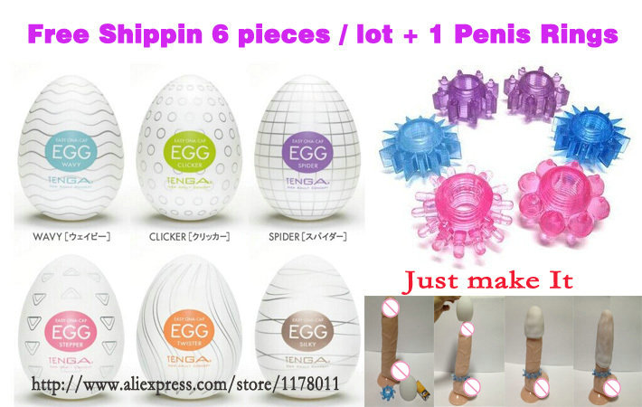 Wholesale six types TENGA EGG Cockring Male Masturbator Silicon Pussy Masturbatory Cup Cock Ring Sex Toys