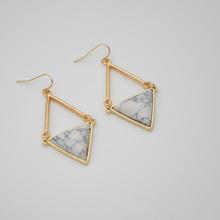 SG5026 /sweet girl jewelry /WHITE inverted triangle geometry earrings(China (Mainland))