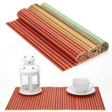Free shipping Colorful color bamboo placemat coasters potholders, utensils heat insulation bamboo pad single loaded E9261(China (Mainland))