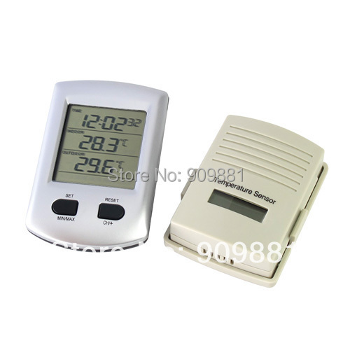 Digital Wireless Indoor Outdoor Thermometer Clock Weather Station Clock For Home Garden 100% Brand New High Quality Hot Sale(China (Mainland))