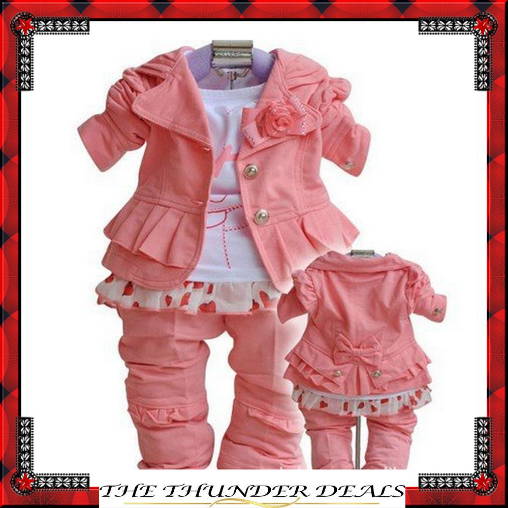 Toddlers' Autumn 3PCS Set Outerwear+T-shirt+Pants/Hot pink Girls' Clothing Kids Clothes/baby suits/baby clothes/babywear(China (Mainland))