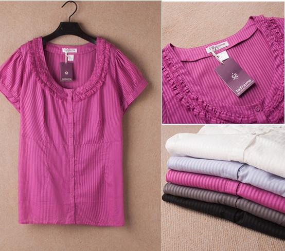 3XL-8XL Large Size Casual Stripe Cotton Blouse Office Lady Shirt Oversize Big Plus Size Women Clothing Clothes 6XL 2015 Summer(China (Mainland))
