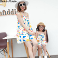Matching Mother Daughter Clothes 2016 Summer Printed Mother Daughter Dresses Beach Family Clothing Outfits Kids Girl