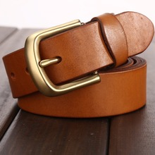 Buy Camel vegetable tanned belt solid brass buckle high mens belts luxury full grain genuine leather 2017 jeans cowboy wide for $18.63 in AliExpress store