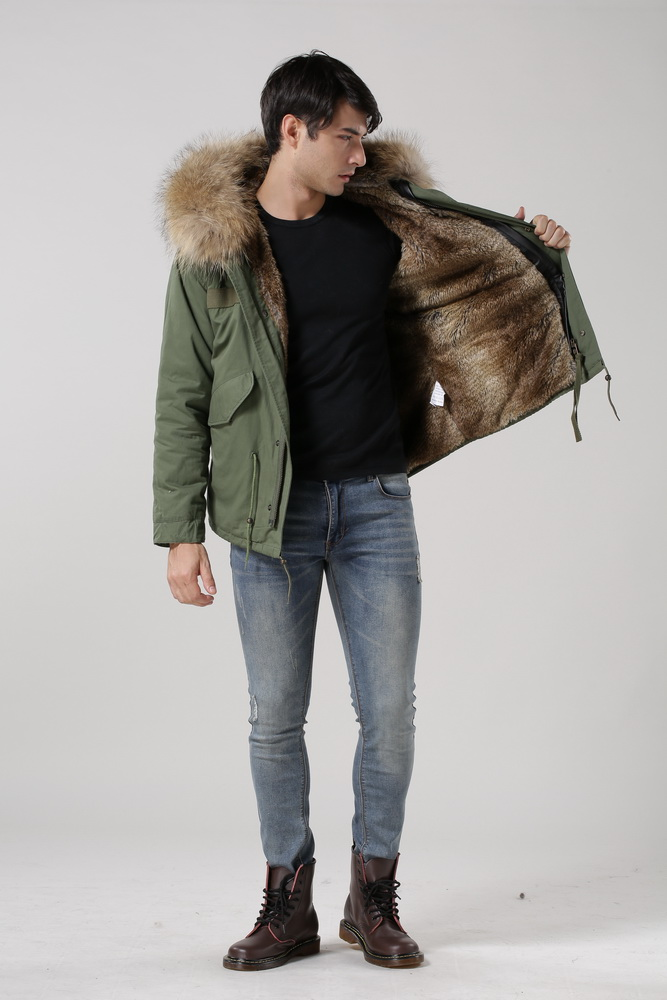 New arrival male down parka in army green with natural fake fur lined UK stylish Mr and Mrs fur coat(China (Mainland))