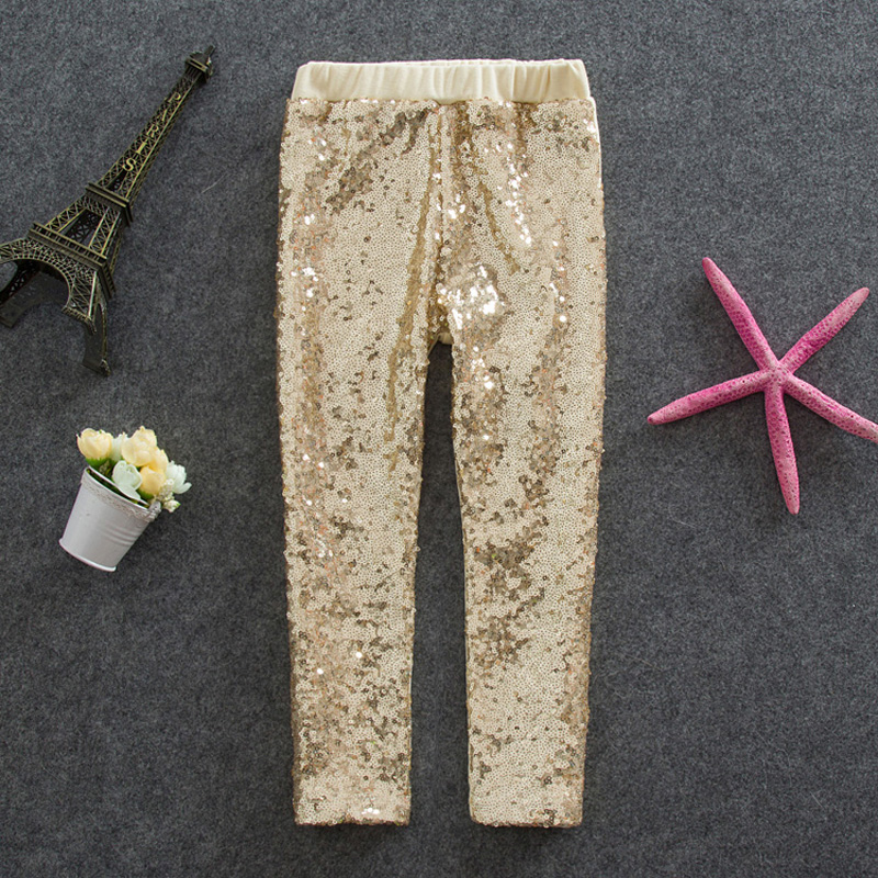 Retail Fashion Sequined Girls Leggings 2015 Girls New Gold Sliever Sequin Cotton Leggings Baby Girls Dance Pants 2-6Y(China (Mainland))