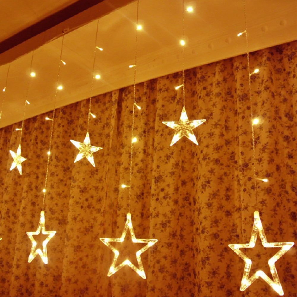EXCELVAN LED Star Curtain String Light 8 Modes with memory 2m LED String Strip Holiday Light Christmas Wedding Curtain lamp(China (Mainland))