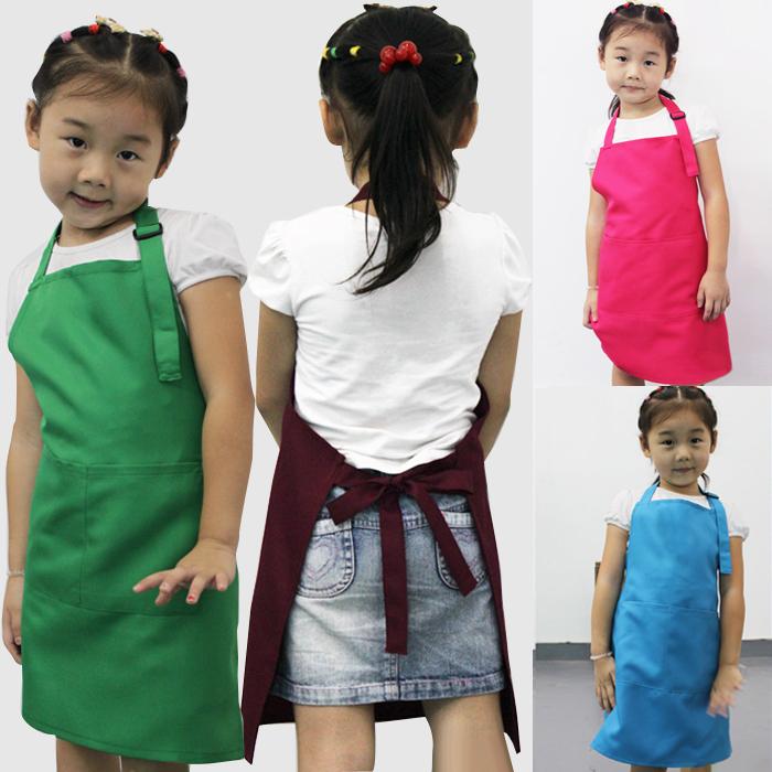 10pcs Kids Aprons Pocket Craft Cooking Baking Art Painting Kids Kitchen Dining Bib Children Aprons Kids Aprons 8 colors # A3570(China (Mainland))