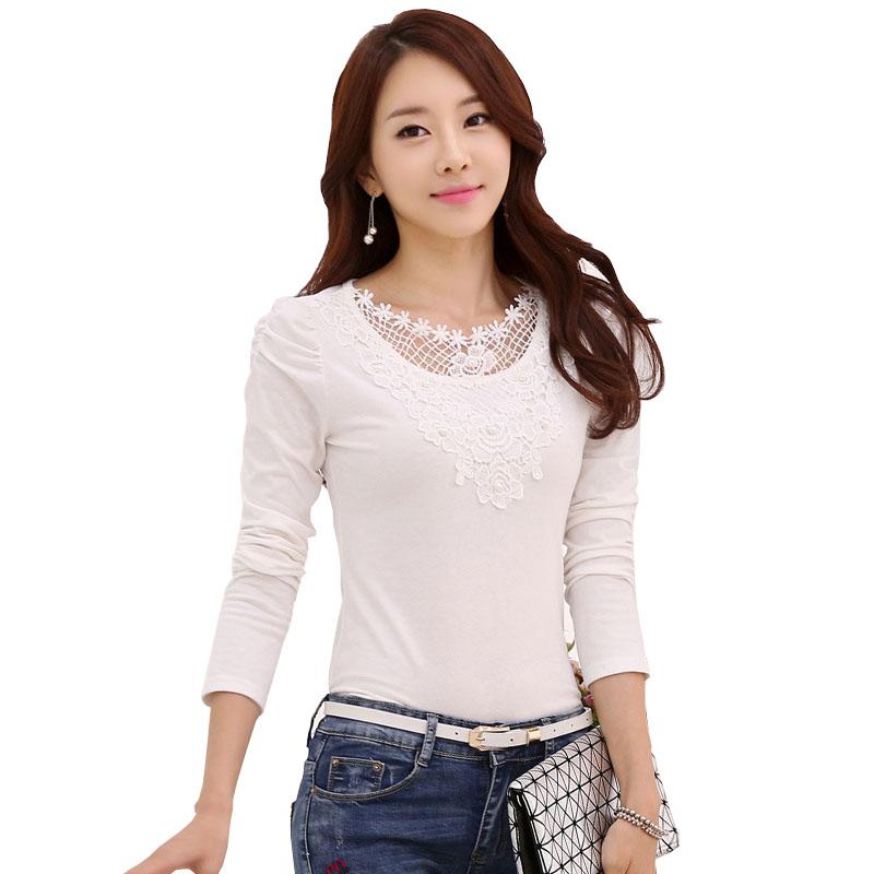 2015 fall fashion sexy junior tops white lace crochet long sleeve t shirt beading cotton tshirt. Black Bedroom Furniture Sets. Home Design Ideas