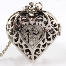 Free shipping Silver Quartz Heart-shaped Pocket Watch Necklace Pendant Mens Womens P72(China (Mainland))