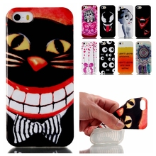 Ultra Thin cartoon Soft Silicone TPU Case For iphone 5 5S Mobile Phone Protective Back Cover Case