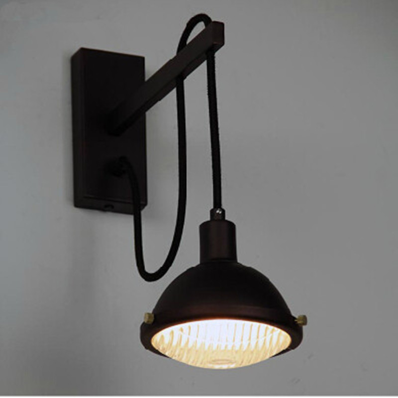 Loft Vintage Black Wall Lamps abajur Industrial Wall Lights Aisle luminaria Kitchen Cabinet ...