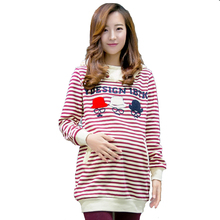 Cute CottonPplaid T-Shirts Tops For Pregnant Women Clothes 2016 Long-Sleeved Hooded Pregnancy Shirt  Loose Large Size Women Coat(China (Mainland))
