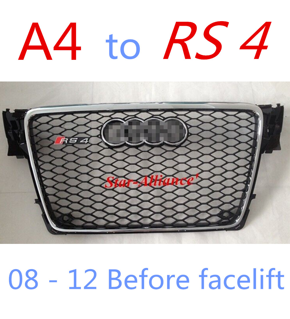 AUDI RS4 GRILLE High Quality ABS Front Car Grill For Audi A4 Upgrade to RS4 Fits For Audi A4 RS4 08-12(China (Mainland))