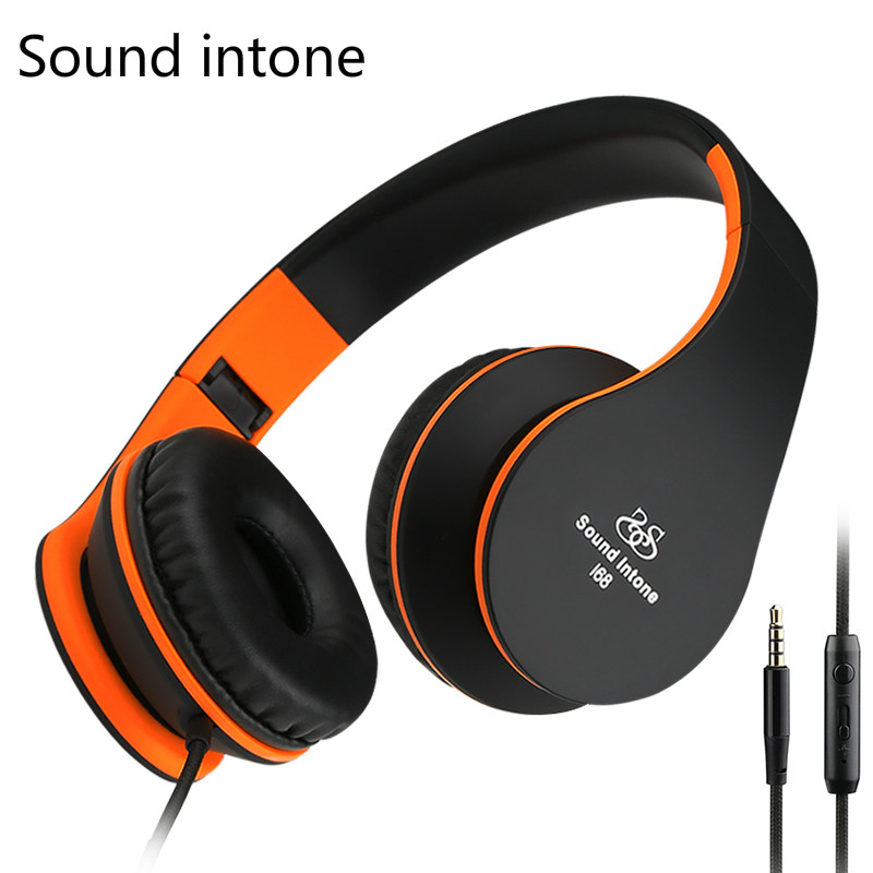 Sound Intone I68 Super Bass Headphones with Mic Volume Control Foldable Headset for Adults for iPhone Android Smartphones(China (Mainland))