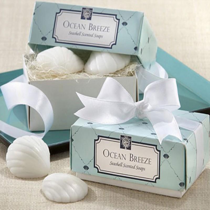 200pcs100box lot quotocean breezequot scented seashell soap for Beach theme wedding favors