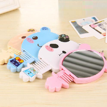 Lovely Small Pocket Mirror Portable Cosmetic Mirror With Combs Gift Mirrors Girl Hand Compact Mirror 2HT17