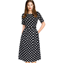 Vfemage Womens Elegant Vintage Summer Polka Dot Belted Tunic Pinup Wear To Work Office Casual Party A Line Skater Dress 2127(China (Mainland))