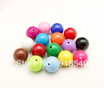 Chunky Big Large Size Mix Color 24MM 62pcs A Lot Round Gumball Acrylic Solid Beads for Chunky Necklace Jewelry Fashion