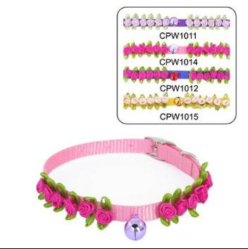 1.0cm romantic roses cingulate with bell pet dog collar 12pcs/lot free shipping(China (Mainland))