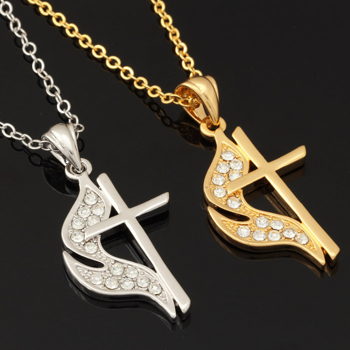 Cross Necklace 18K Gold Plated Vintage Pendant For Men Jewelry Trendy Religious Austrian Crystal Women Necklaces & Pendants P259(China (Mainland))