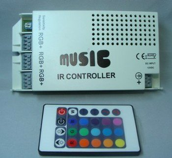 hongkong postLed Music RGB Controller 60W for 5050 SMD and 3528 SMD + IR remote for led strip light or spotlight