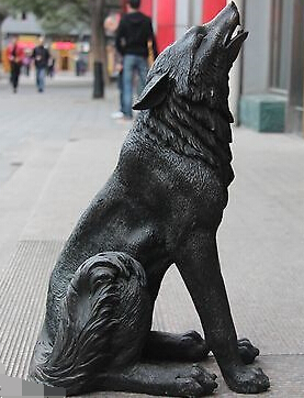China Classic Bronze Copper Carved Animal wolfish Dog Wolf Statue Art Sculpture(China (Mainland))