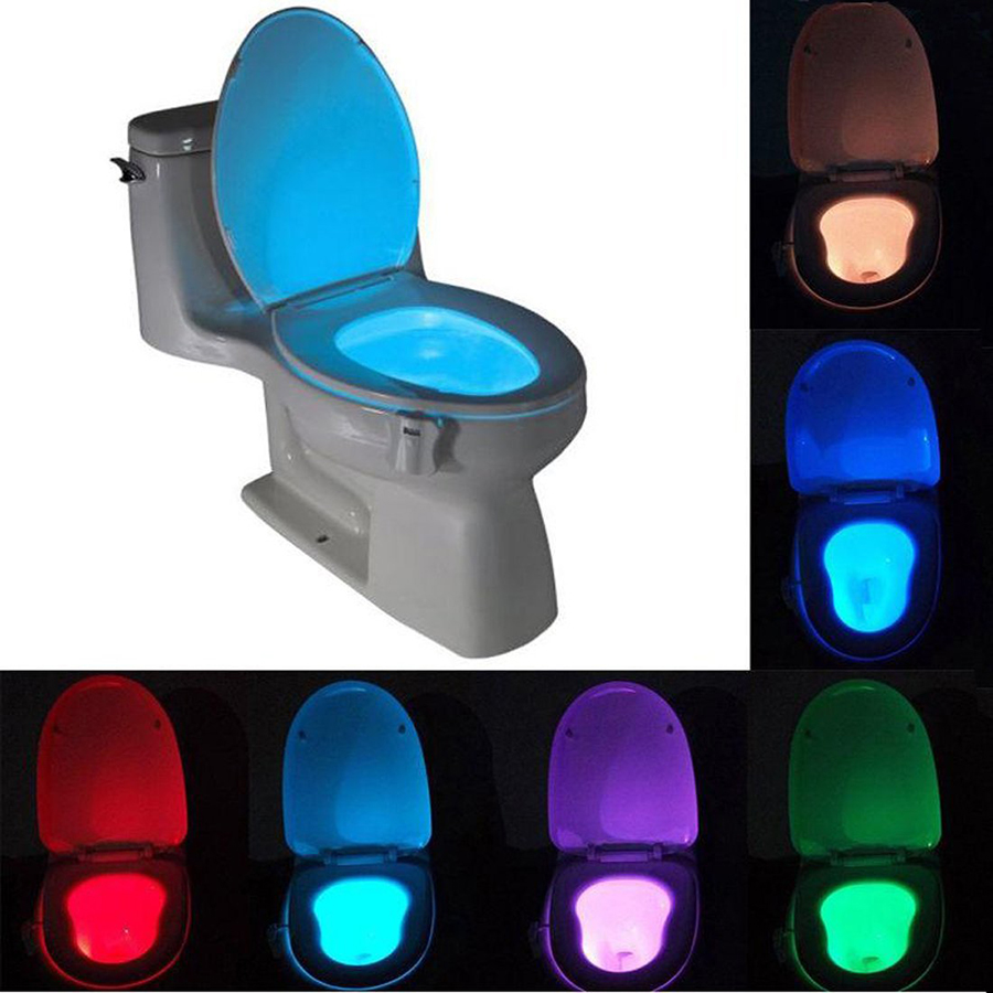 Sensor Led Toilet Light 8 Colors Battery-operated Lamp lamparas Human Motion Activated PIR Automatic RGB LED Toilet Nightlight