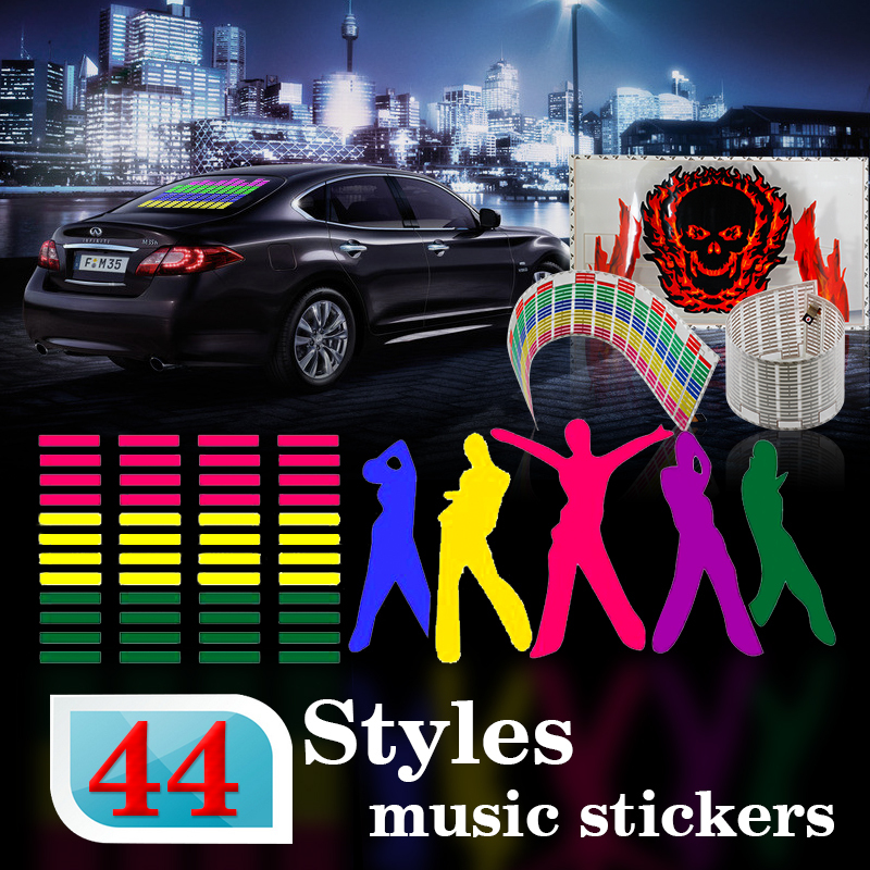 Car Music sticke 80*19cm Music Rhythm Led EL sheet Light red green yellow blue purple pink colorful Equalizer 3D Flash(China (Mainland))