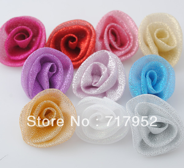 Mesh Ribbon Metallic Glitter Rose Wedding Party Sewing Appliques Crafts A0235(China (Mainland))