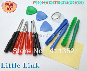 Free Shipping 17pcs Repair Opening tools kits for Mobile phone LCD Screen (*)(-)(+)(Y)(T3)(T4)(T5)(T6) Screwdriver