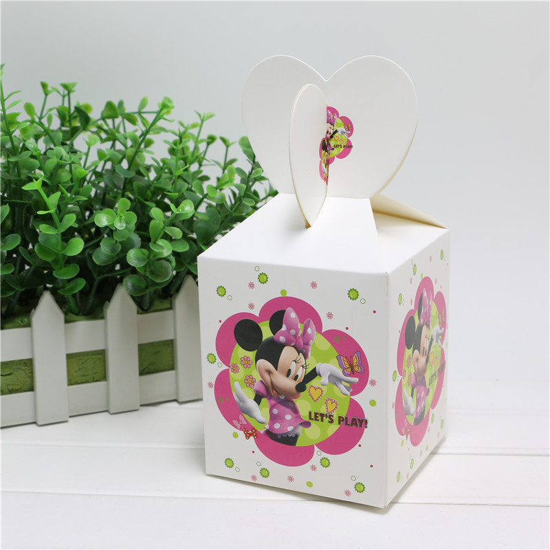 8 pcs/lot minnie mouse cartoon theme wedding party decorations kids favor box candy box boys favor suppliers disposable paper(China (Mainland))