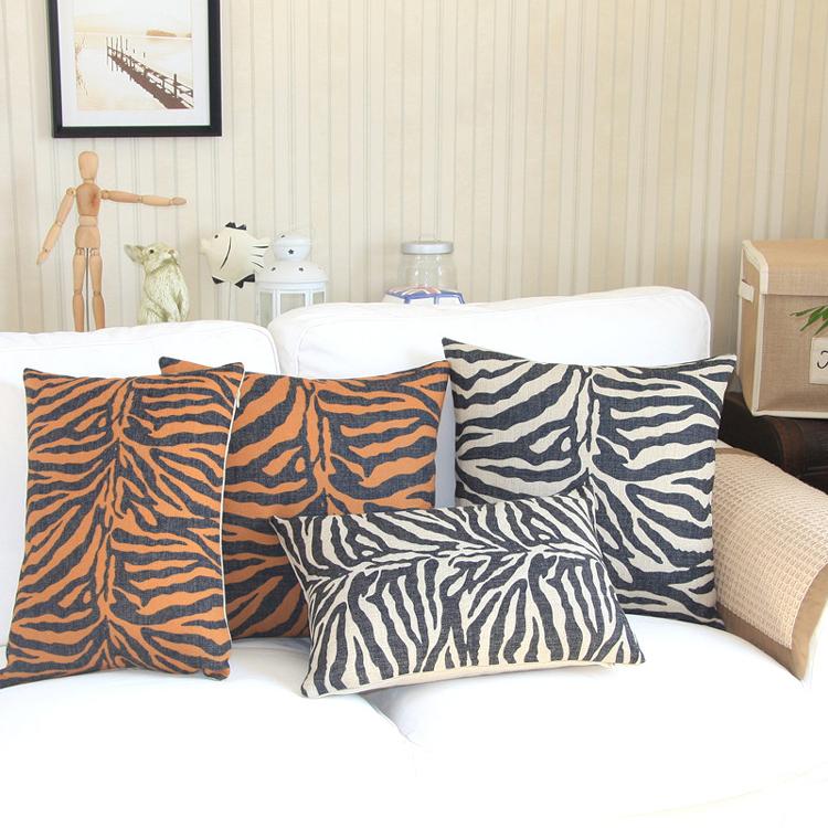18 carr mode zebra stripe coton lin housse de coussin ikea moderne d coratif coussin accueil. Black Bedroom Furniture Sets. Home Design Ideas