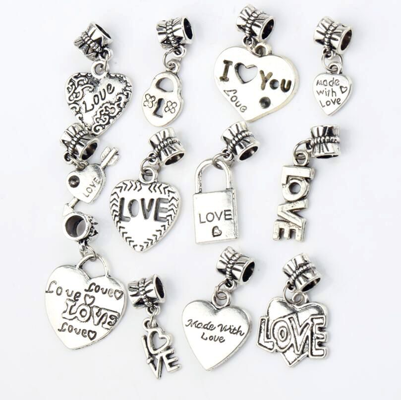 12Mixed Antique Silver Hearts Love Charms Dangle Beads Fit European Bracelets DIY 12 Styles - LZsilver JingMangZhuBao Store store