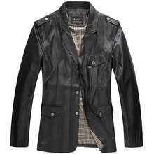 2015 Spring and Autumn leather jacket good quality big size mens coats formal suit overcoat  vestido(China (Mainland))
