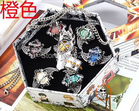 2015 New Arrived Fashion Hitman Reborn Vongola Ring Vongola Family Ring Set Primo a set of seven rings Cosplay Party Unique Gift(China (Mainland))