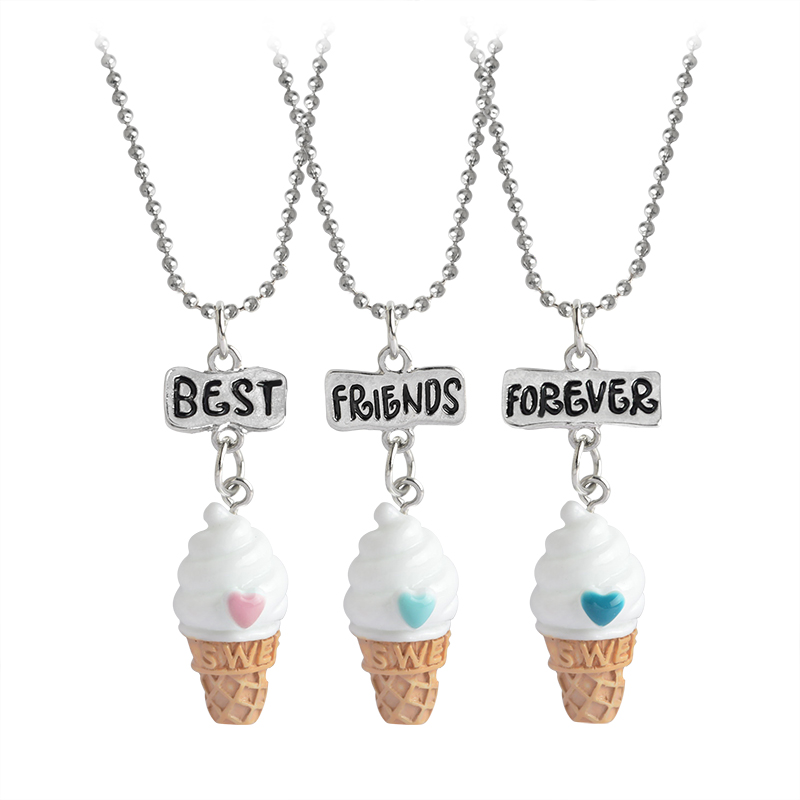 3 pcs/set Best Friends Forever BFF Ice-cream Pendant Necklace Women Kid Girl Mini Food Love Heart Chain Friendship Jewelry Gift