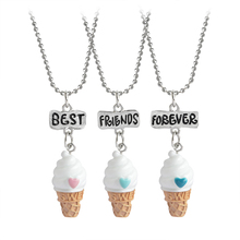 Buy 3 pcs/set Best Friends Forever BFF Ice-cream Pendant Necklace Women Kid Girl Mini Food Love Heart Chain Friendship Jewelry Gift for $1.69 in AliExpress store