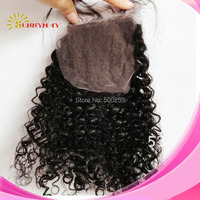 "Brazilian Virgin Human Hair Sunnymay Kinky Curly 4""*4"" lace Closure With Baby Hair Bleached Knots Closure"