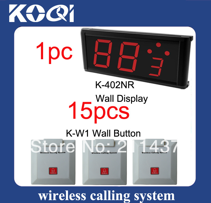 Calling waiter system K-402NR display For Shop and 15pcs K-W1 waterproof Call buttons 315mhz&433mhz(China (Mainland))