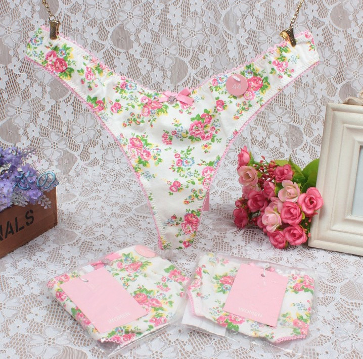 Women Sexy Panties Underwear Thongs G-Strings Pink Female Seamless Button Lingerie Floral Print Dot G Strings PM024