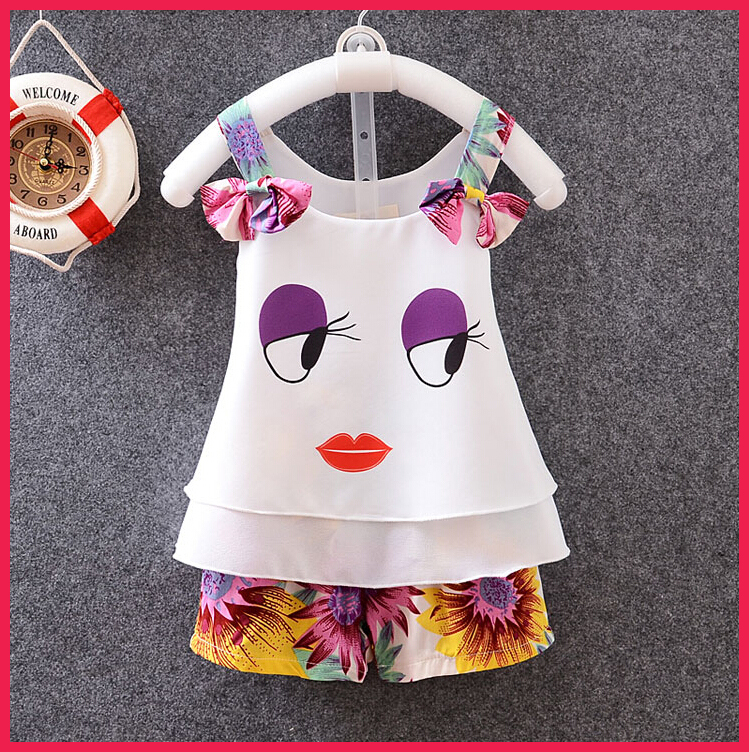 2015 Summer Style Baby Girls Clothes Set Chiffon Butterfly Condole Belt T-shirt Matching Pant Cute Baby Girls Clothe Set(China (Mainland))