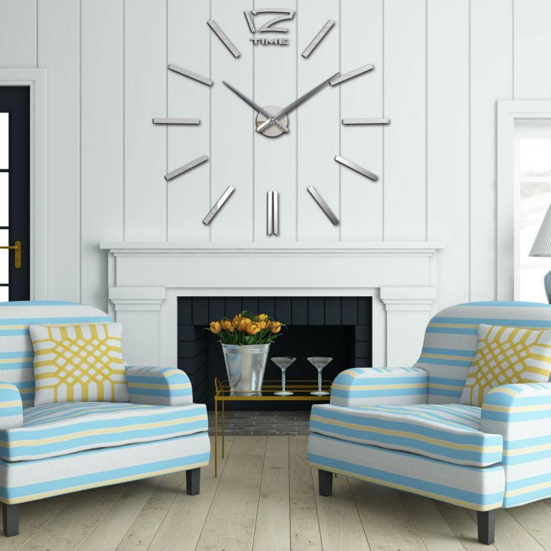 Home decorations Big mirror 3D wall clocks watch Modern