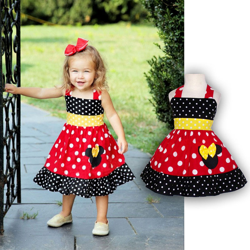 Toddler Girl Sleeveless Minnie Dress Summer Baby Girls Cartoon Mouse Chiffon Dresses vetement enfant Children's Clothing CA107(China (Mainland))