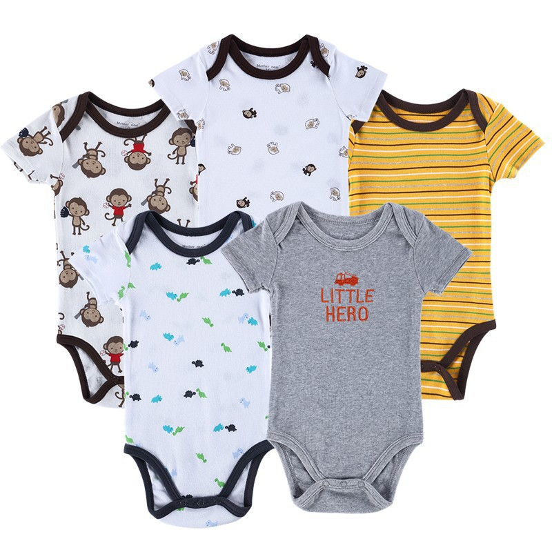 5pieceslot Vestido Baby Romper Set Elephant Seriors Series Next Baby Body Overall Similar Carter Infant Wear Baby Clothing (4)