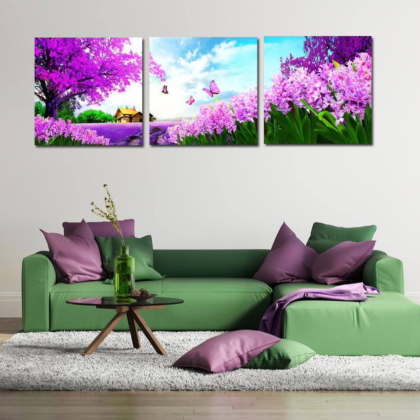 3 Panel Modern Paintings Beautiful Landscape Canvas Prints Pastoral Purple Flower Tree Butterfly Wall Art For Home Kitchen Decor(China (Mainland))