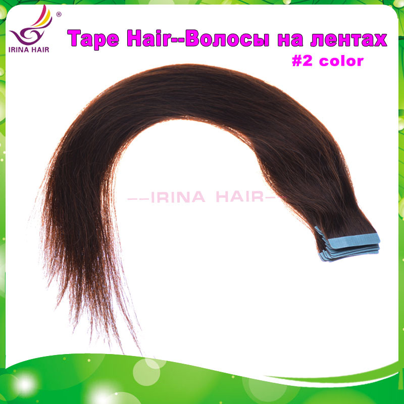 Wholesale Price Irina Hair 30pcs 75g 100% Real Hair Tape Hair Extensions #2 14-28inch(China (Mainland))