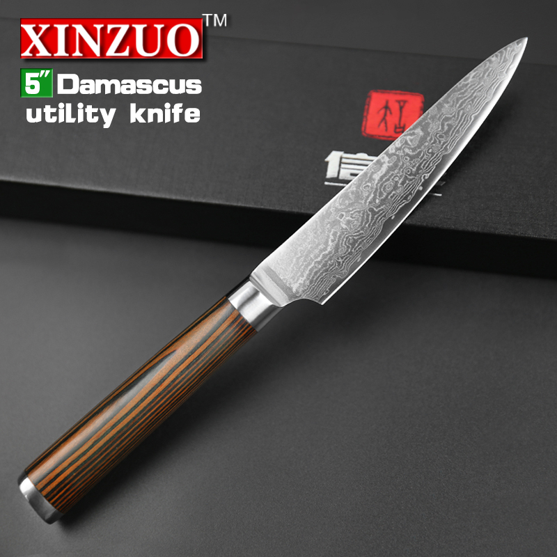 xinzuo 5 utility knife japanese vg10 damascus kitchen knife paring fruit knife colour wood. Black Bedroom Furniture Sets. Home Design Ideas