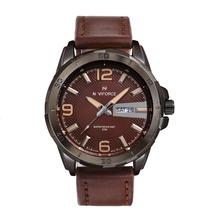 Relojes Hombre 2015 de lujo de la marca Naviforce hombres cuarzo de la correa de cuero deportivo impermeable militar Relojes de pulsera